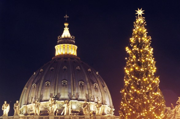 St. Peter's dome new lights and Christmas 2014